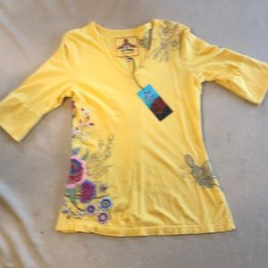 Tops - JOHNNY WAS EMBROIDERED TUNIC